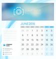 Desk Calendar for 2016 Year June Stationery Design vector image