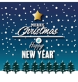 merry christmas new year snowfall and pine graphic vector image
