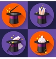 Set of icons Funny Rabbit in a magic hat vector image