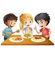 Kids watching the table with foods vector image