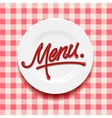 Word Menu - made with red sauce on plate vector image