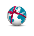 Planet Earth with bow red ribbon vector image vector image