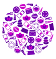 purple cosmetics icons vector image