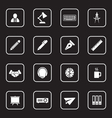 white flat icon set 8 with rounded rectangle frame vector image