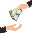 Business Hand Receiving Money Bill vector image