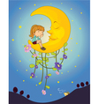 a girl and a moon vector image