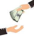 Business Hand Receiving Money Bill vector image