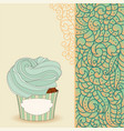 cartoon sweet cupcake and doodle boho pattern vector image