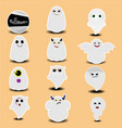 cute sticker collection of halloween ghosts vector image