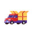 delivery car with gift box package vector image