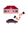 male hands giving and taking a key car and house vector image