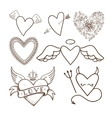 Collection of decorative hearts vector image
