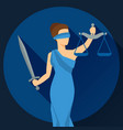 Lady justice in flat design style vector image