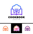 cook book logo cooking learn logotype vector image