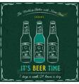 Green blackboard with three bottles of beer vector image