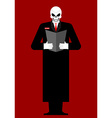 Mr Death Skeleton in a black cloak Reads last will vector image