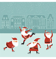 Santas on the ice rink vector image