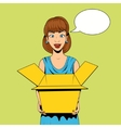 Young woman get a present vector image