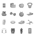 Fitness icons set gray monochrome style vector image vector image