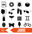 June month theme set of simple icons eps10 vector image