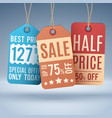 vintage hanging price tags or sale labels vector image vector image
