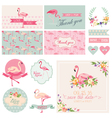 Flamingo Party Set - for Wedding Bridal Shower vector image