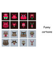 assembly of flat icons on theme funny animals vector image