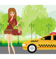 elegant woman waiting for a taxi vector image