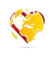 planet earth with heart vector image