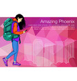 shopping girl walking in the city holding vector image