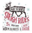 Reindeer sleigh rides signboard vector image