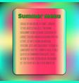Bright summer menu cover template watermelon vector image