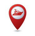 yacht icon red map pointer vector image vector image
