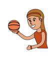 girl doing basketball sport vector image