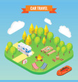 car travel and camping isometric concept vector image