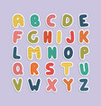 cartoon funny font color english baby alphabet vector image