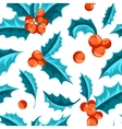 Christmas Holly Berry seamless pattern vector image