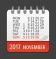 november 2017 calendar daily icon vector image