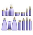 realistic blue cosmetics bottles vector image
