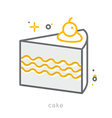 Thin line icons Cake vector image