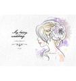 Wedding watercolor portrait of the bride vector image