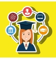 woman graduation college student vector image