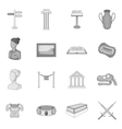 Museum icons set gray monochrome style vector image