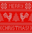 Embroidery Christmas card with cross stitch vector image