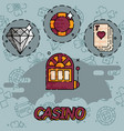 casino flat concept icons vector image