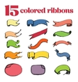 15 colored ribbons hand drawing vector image