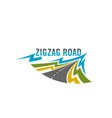 icon of zig zag road for travel safety vector image vector image