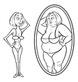 Woman mirror anorexia vector