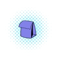 Lunch bag icon comics style vector image