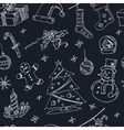 Doodle Christmas seamless pattern Vintage vector image